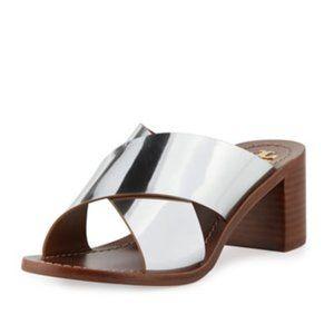 TORY BURCH Montrose Mirror Crisscross Slide Sandal